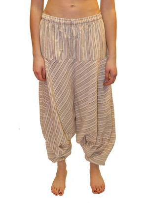 Beige Striped Cotton Harem Pants