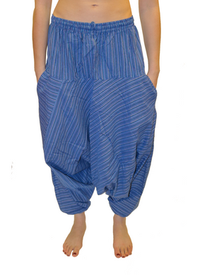 Blue Striped Cotton Harem Pants