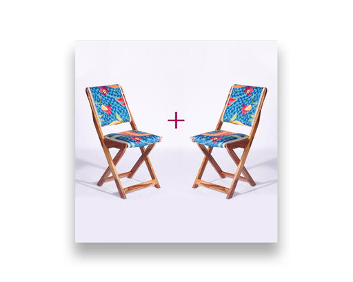 Blue-Orange Kashmiri Folding Chair - Set of 2