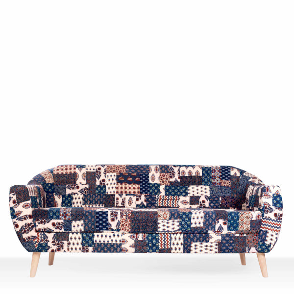 Red-Blue Banni Patchwork 3-Seater Sofa
