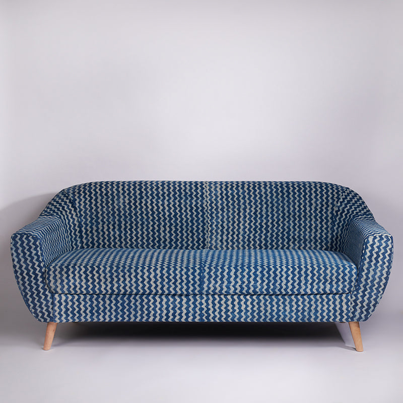 Zigzag Patterned Dhurrie 3-seater Sofa