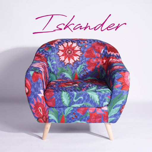 Blue-Pink Kashmiri Accent Chair