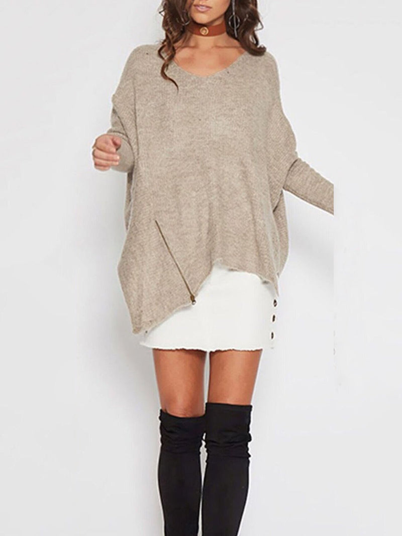 Crew Neck Long Sleeve Casual Knitted Plus Size Sweater