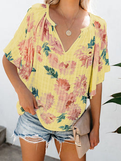 Short Sleeve V Neck Floral Printed Blouse