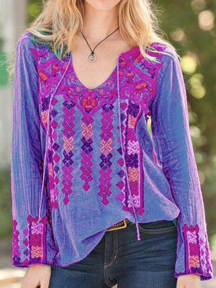 V Neck Boho Cotton Shirts Blouses