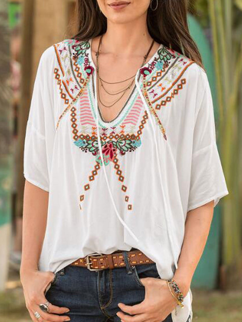 White Floral Cotton-Blend Round Neck Casual Shirts & Tops