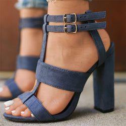 Black Daily Hollow-out Suede Sandal
