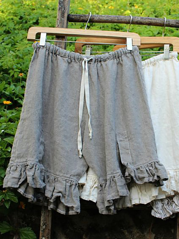 Women Folds Lace Up Elastic Waistband Loose Linen Shorts