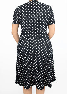 Dahlia Dress - Black and White Polka Dot - (0X)