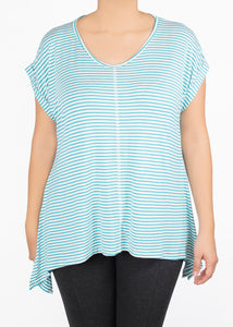 Tulip Tee - Teal and White Stripe - (S)