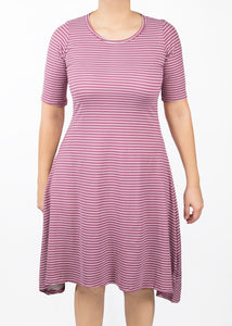 Poppy Dress - Mauve and White Stripe - (XL)