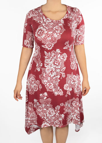 Poppy Dress - Red Floral - (1X)