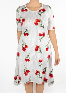 Poppy Dress - Polka Dot Floral - (0X)