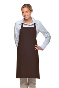 Brown 2 Patch Pocket Adjustable Bib Apron