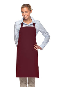 Maroon 2 Patch Pocket Adjustable Bib Apron