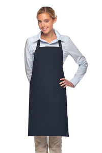 Navy 2 Patch Pocket Adjustable Bib Apron