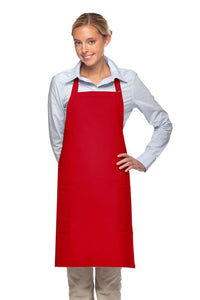 Red 2 Patch Pocket Adjustable Bib Apron