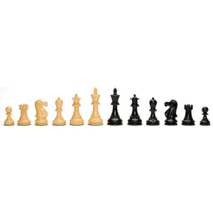 Classic Staunton Chessmen – Weighted & Handpolished Black Stained Wood with 3 in. King - American Chess Equipment