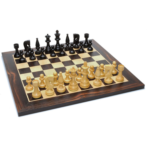 Russian Style Chess Set – Weighted Pieces & Black Stained Wood Board 15 in. - American Chess Equipment