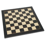 Grand Jacques Style Chess Set – Weighted Pieces & Black Stained Wood Board 19 in. - American Chess Equipment