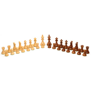 Grand English Style Chess Set – Weighted Pieces & Walnut Root Wood Board 19 in. - American Chess Equipment