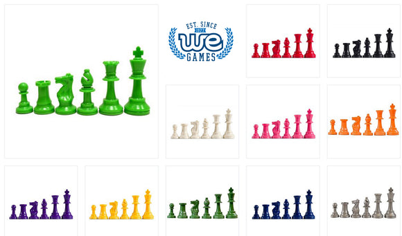 WE Games Staunton Tournament Chess Pieces in Assorted Colors - Plastic with 3.75 inch king - Half Set - American Chess Equipment
