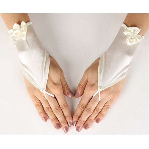 SATIN FINGER LESS GLOVES WITH FINGER RING