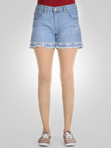 High Waisted Denim Scratchy Shorts By Springfield