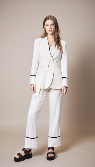 Slouch Pant- Ivory w/ Black