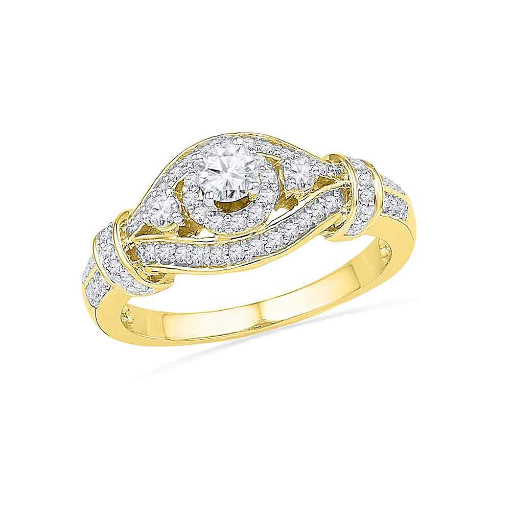 10kt Yellow Gold Womens Round Diamond Solitaire Bridal Wedding Engagement Ring 5/8 Cttw