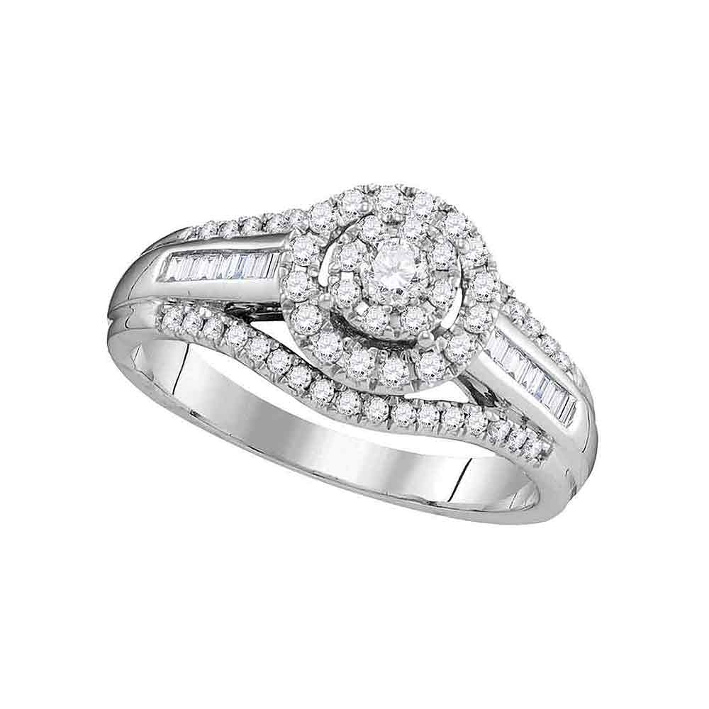 10kt White Gold Womens Round Diamond Solitaire Halo Bridal Wedding Engagement Ring 1/2 Cttw