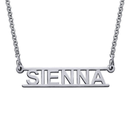 Bar Name Necklace - Cut Out Design