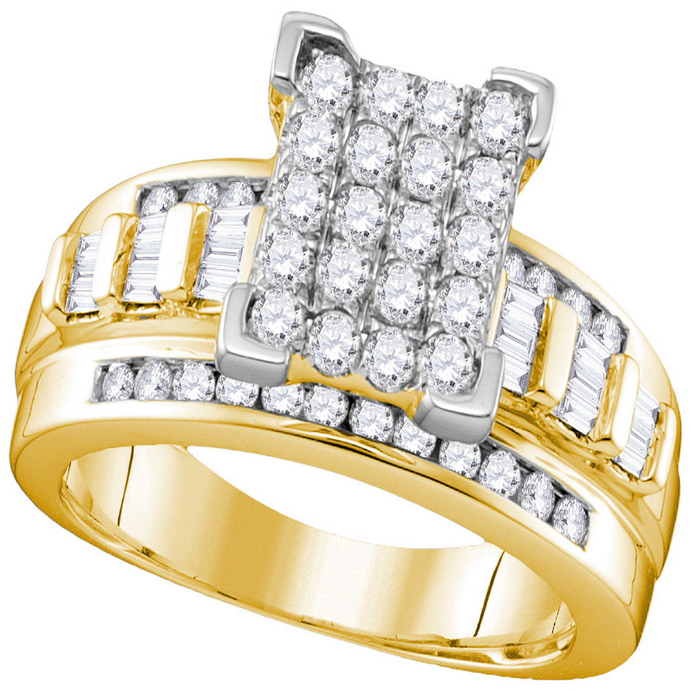 10k Yellow Gold Diamond Cindy's Dream Cluster Bridal Wedding Engagement Ring 2 Cttw - Size 9