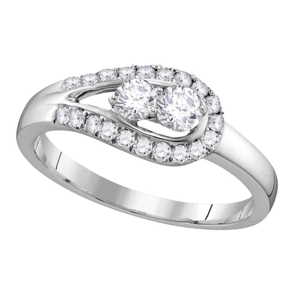 10kt White Gold Womens Round Diamond 2-stone Bridal Wedding Engagement Ring 1/2 Cttw
