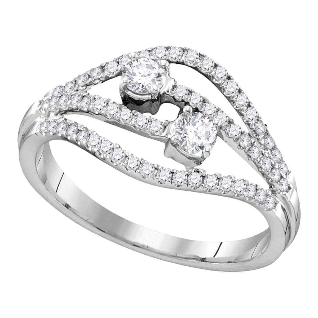 14kt White Gold Womens Round Diamond 2-stone Bridal Wedding Engagement Ring 1/2 Cttw