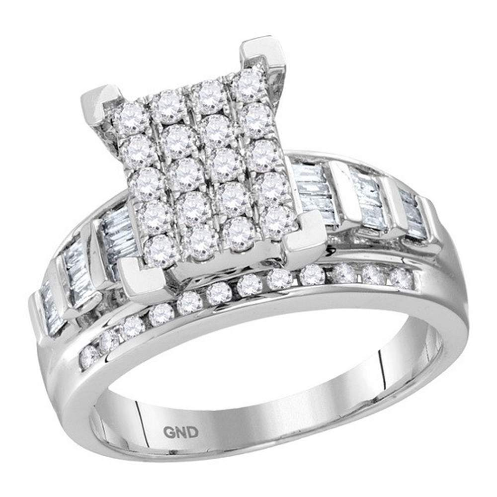 10kt White Gold Womens Round Diamond Cindys Dream Cluster Bridal Wedding Engagement Ring 1/2 Cttw - Size 9