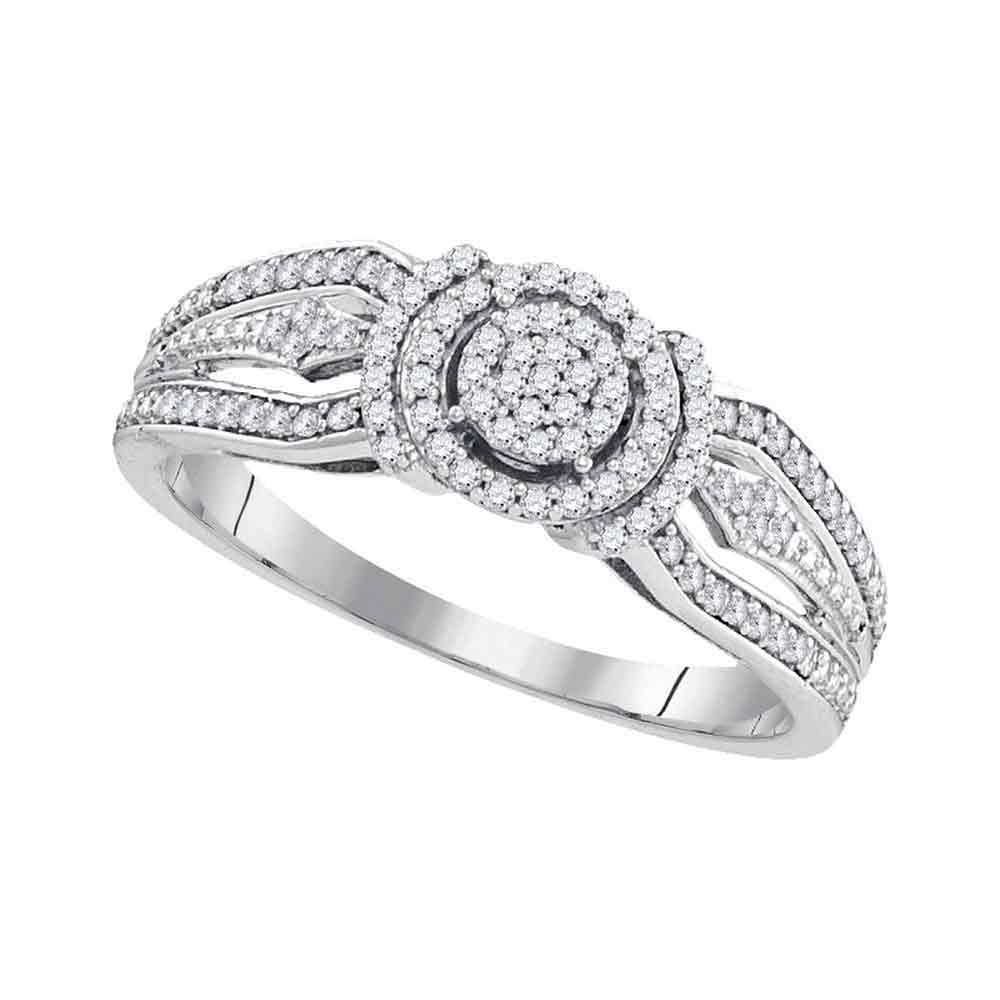 10kt White Gold Womens Round Diamond Cluster Bridal Wedding Engagement Ring 1/4 Cttw