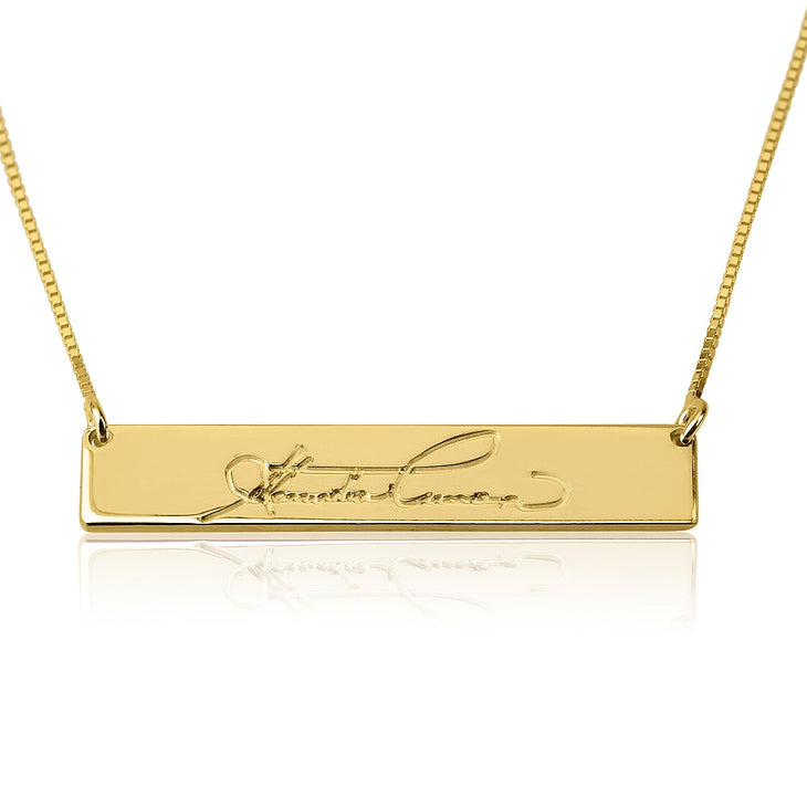 Handwriting Bar Necklace