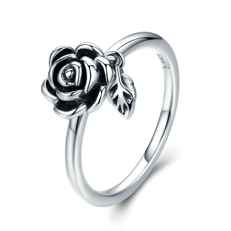 Penelope's Romantic Rose Flower and Leaf Promise Ring