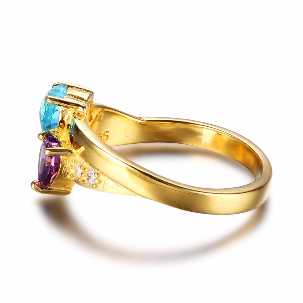 Penelope's Gold Plated Double Heart Gemstone Promise Ring