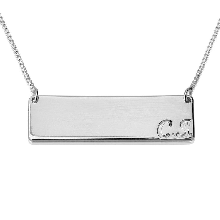 Bar Necklace with Initial