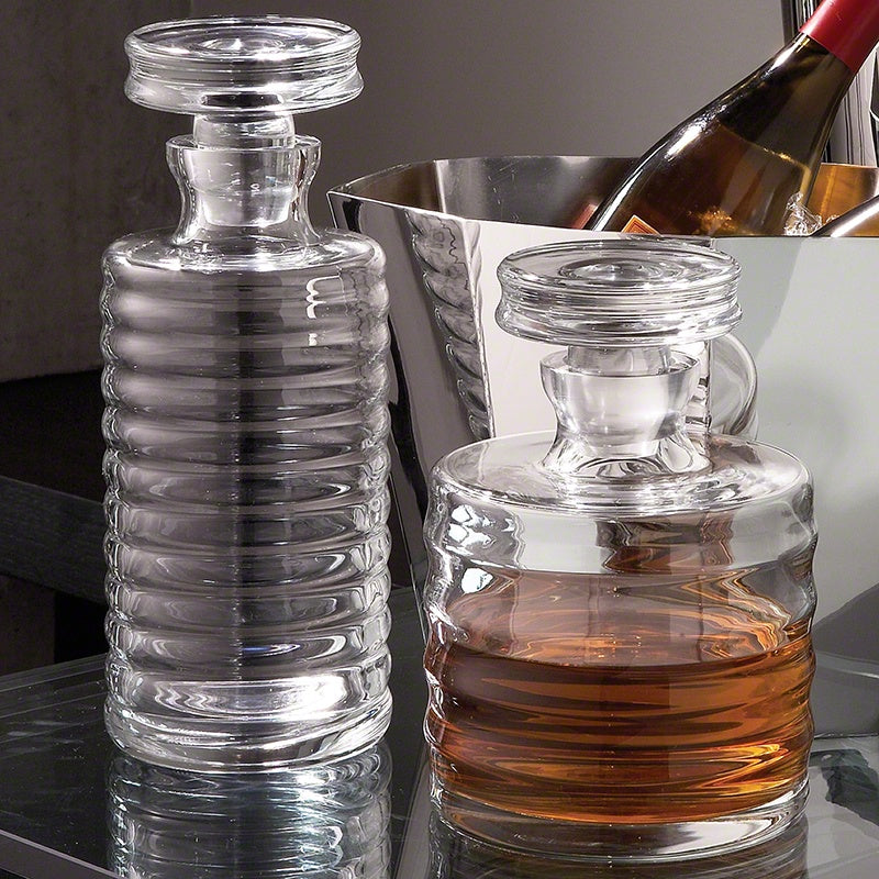 Ribbed Glass Decanter - Tall