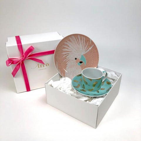 Pink Dessert Plate and Mug gift-wrapped