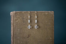 Load image into Gallery viewer, 1930s Crystal, Oxidized Sterling + Gold Filled Earrings - Old Grace Gathering Co.