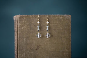 1930s Crystal, Oxidized Sterling + Gold Filled Earrings - Old Grace Gathering Co.