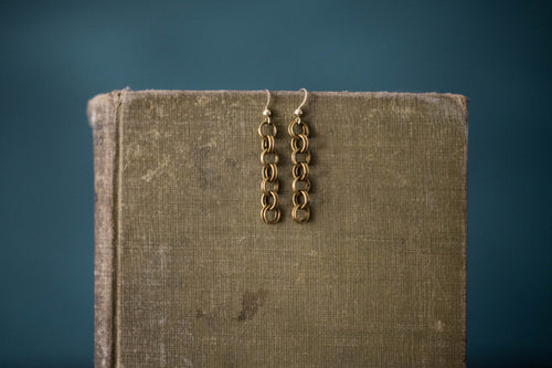 Antique Chain + Gold Filled Earrings