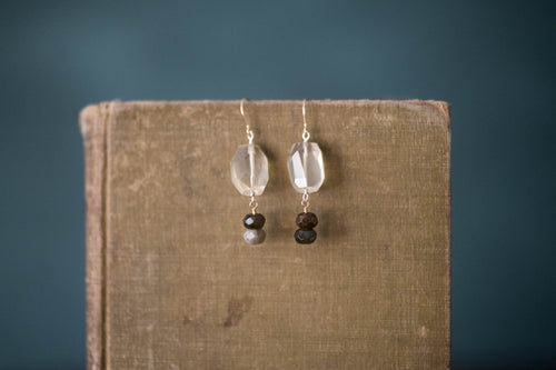 Quartz, Labradorite, Sterling + Gold Filled Earrings - Old Grace Gathering Co.