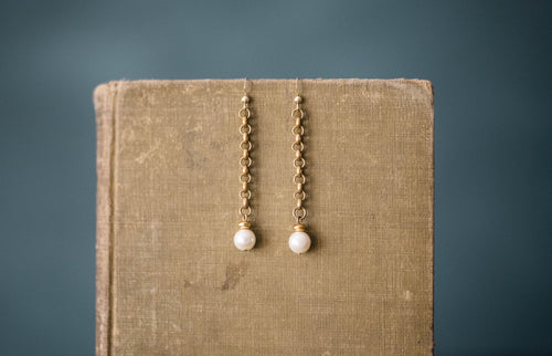 Antique Chain, Vintage Glass Pearl + Gold Filled Earrings
