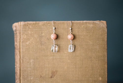 Peach Moonstone, Quartz + Sterling Earrings - Old Grace Gathering Co.