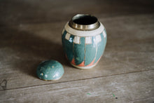 Load image into Gallery viewer, Vintage Brass Enameled Vase with Lid